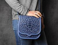 """Кожаная квадратная женская сумка, синяя сумочка с тисненым орнаментом """"Сварога"""", сумка через плечо, фото 1"""