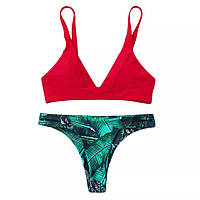 Раздельный купальник с плавками бразильянки красный лиф