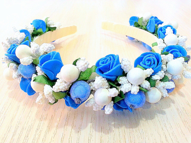 Обруч для волосся - синя Троянда