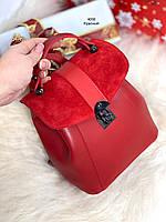 Рюкзак женский маленький молодежный городской красный сумка замша+экокожа