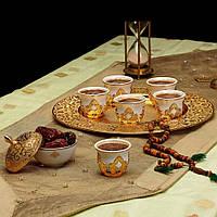 Набор чашек для кофе на 6 персон Sena Золотистый Мирра, фото 1