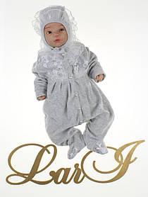 Нарядный комплект ЕВА для девочки 56 р, серый меланж с белым