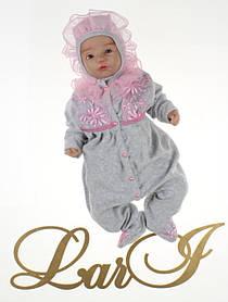 Нарядный комплект ЕВА для девочки 56 р, серый меланж с розовым