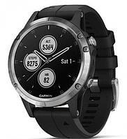 Спортивные часы Garmin fenix 5 Plus, Glass, Silver w/Black Band, GPS Watch, EMEA (010-01988-11)