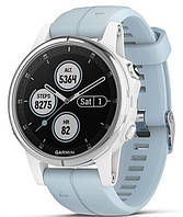 Спортивные часы Garmin fenix 5S Plus, Glass, Wht w/Sea Foam Bnd, GPS Watch, EMEA (010-01987-23)