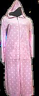 Велюровый  женский халат  длинный c капюшоном,S-M, хлопок, Турция