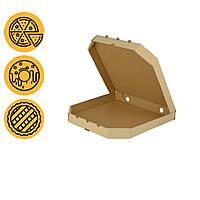 Упаковка под пиццу картонная 350*350*45 мм маленькая квадратная бурая заготовка в розницу, фото 1