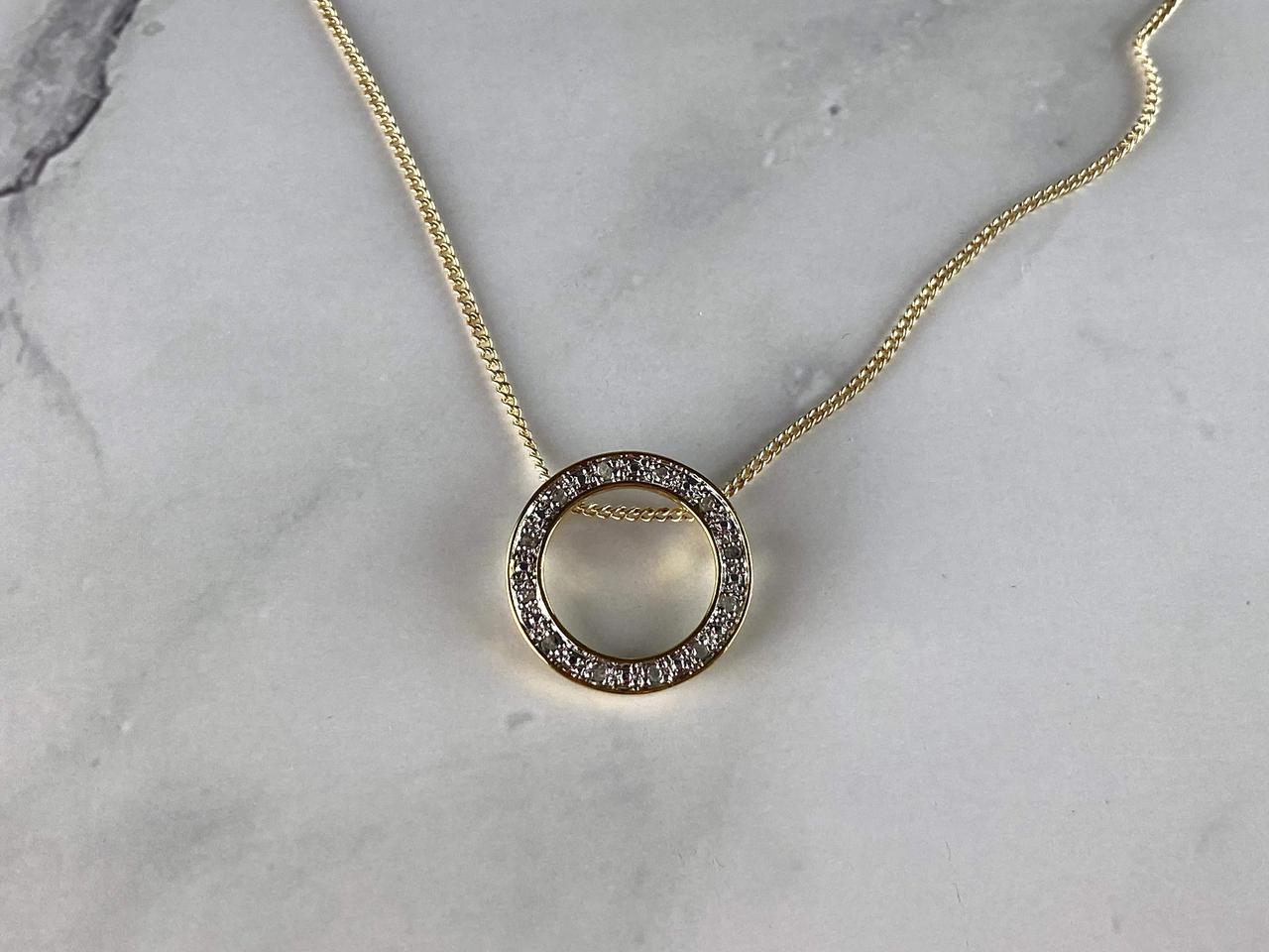 Серебряное Ожерелье в позолоте с белым Сапфиром 925 проба Italy