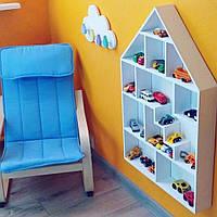 Детская деревянная полка домик для игрушек