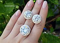 Розкішний срібний набір з круглим каменем, фото 1