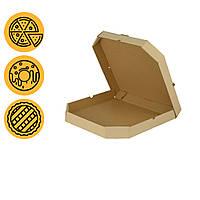 Коробки под пиццу крафт 400*400*40 мм квадратные со скошенными углами заготовка в розницу
