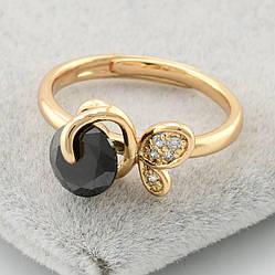 Кольцо Xuping детское 14053 размер 14 ширина 7 мм вес 1.6 г черные фианиты позолота 18К