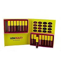 Набор матовых помад huda beauty lip gloss matte 16 оттенков