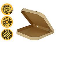 Коробка под пиццу бурая 440*440*44 мм квадратная с скошенными углами заготовка в розницу, фото 1
