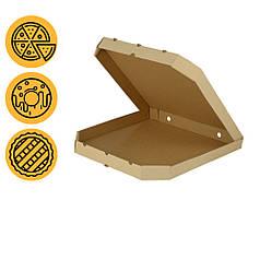Коробка под пиццу бурая 440*440*44 мм квадратная с скошенными углами заготовка в розницу
