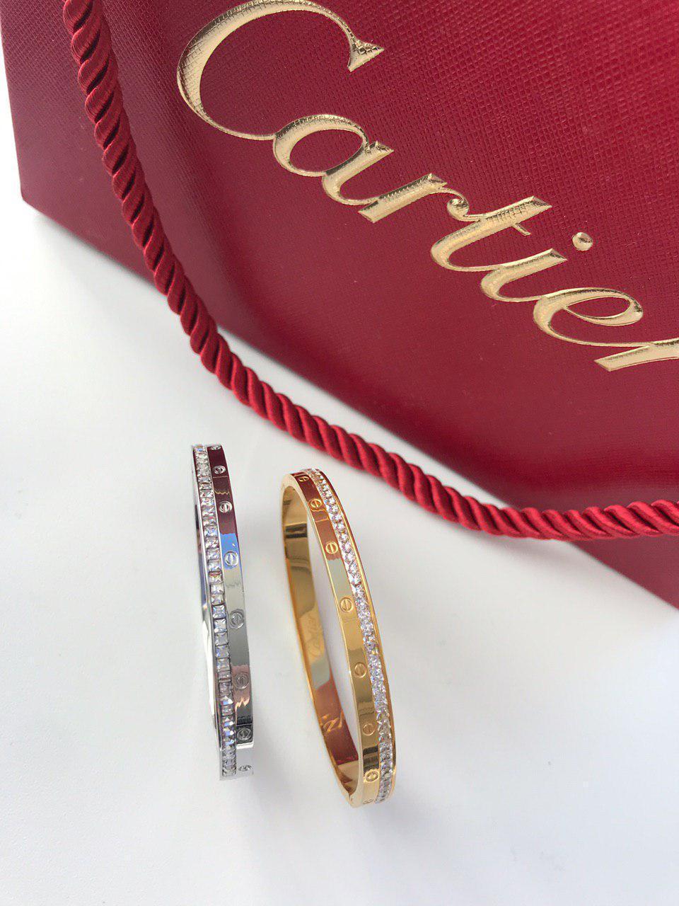 Браслет Картьер люкс копия 1:1 с камнями белое золото 17 размер