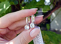 Серебряные серьги с круглым камнем, фото 1