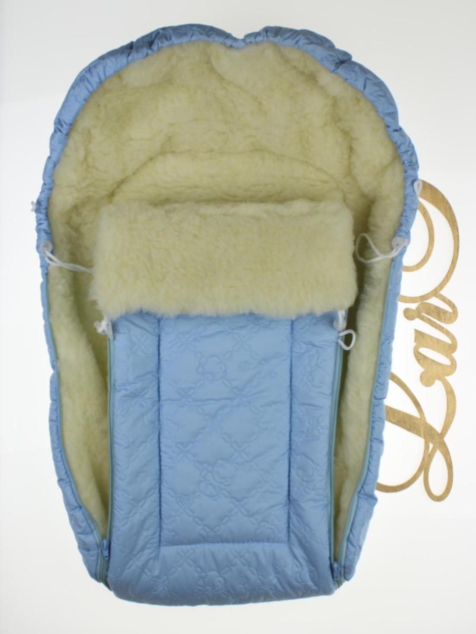 Конверт-мешок в коляску Снеговик голубой