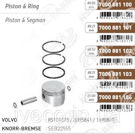 Поршень компрессора с кольцами KNORR, VOLVO FH12/16, FM7/12, B10/12     85101375 / 3095841 / 1698848, SEB22555