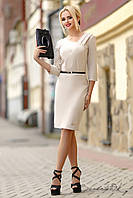 Женское деловое платье c длинными рукавами | Большие размеры, фото 1