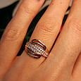 Золотое кольцо с фианитами - Женское золотое кольцо с камнями, фото 5