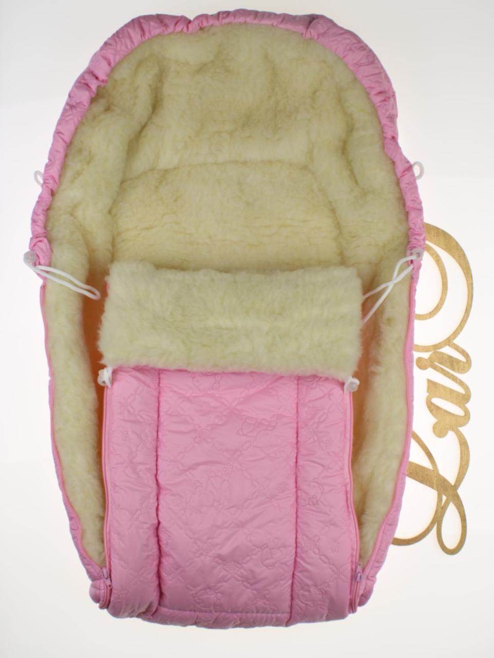 Конверт-мешок в коляску Снеговик розовый