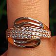 Золотое кольцо с фианитами - Женское золотое кольцо с камнями, фото 3