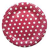 """Тарілки паперові одноразові """"Рожевий горошок"""" 10 шт"""