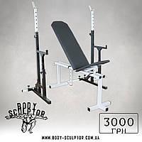 Лавка регульована (до 200 кг) + Стійки під штангу з страховкою (до 200 кг)