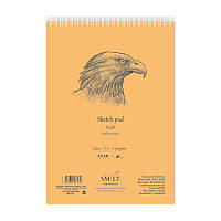 Альбом для эскизов Smiltainis Authentic (Kraft) на спирали, A4, 90 г/м2, 60 лист., коричневый цвет (EB-60TS/KRAFT)