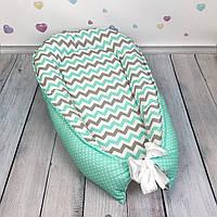 """Кокон-гнёздышко для новорожденного с кокосовым матрасиком """"Mint Waves"""""""