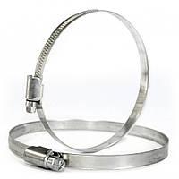 Хомут зажимной Ø 100-120 мм металлический, червячный, оцинкованный /9мм  для вентиляции