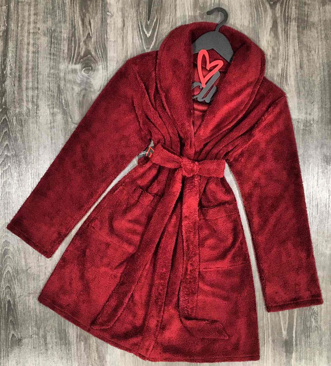 Теплый плюшевый халат 041-бордо.