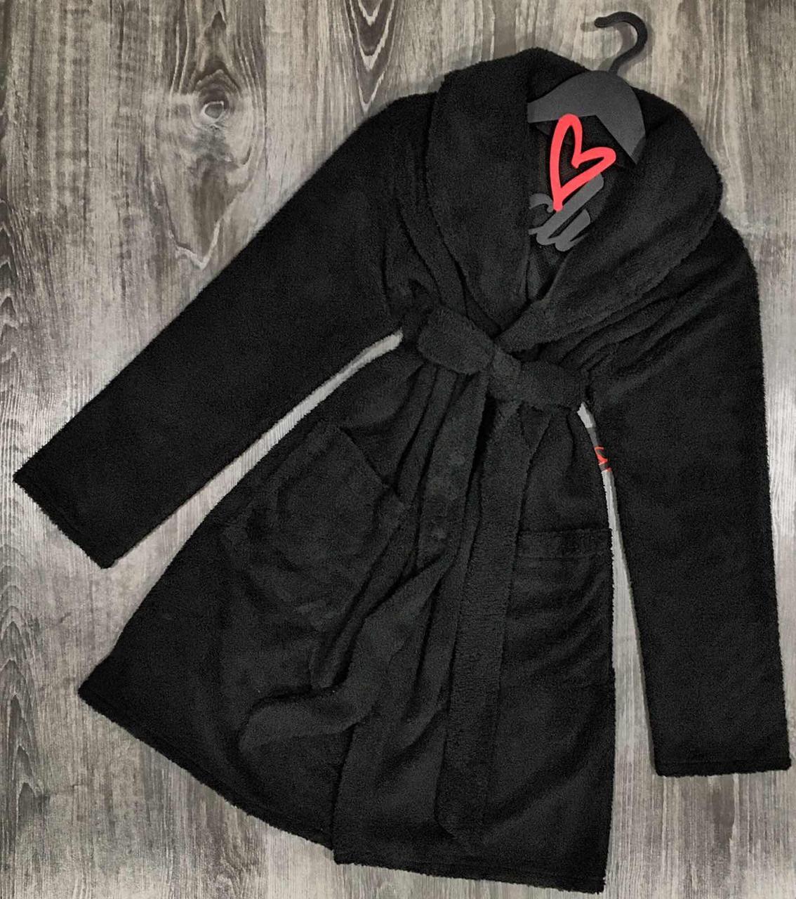 Черный халат женский, теплый плюшевый халат.