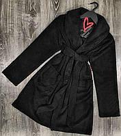 Чорний халат жіночий, теплий плюшевий халат.