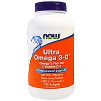 Now Foods, Ultra Omega 3-D, омега-3 концентрат, 180 капс., рыбий жир