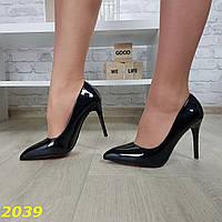 Лодочки туфли праздничные черные с легким мерцанием на красной подошве