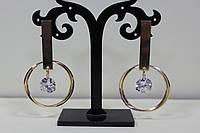 Шикарные сережки золотистые кольцо с камнем для любого торжества