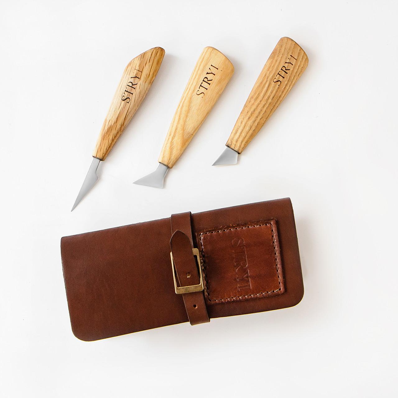 Набор ножей с 3шт. в кожаном чехле от производителя STRYI