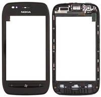 Оригинальный тачскрин / сенсор (сенсорное стекло) с рамкой для Nokia Lumia 710 (черный цвет)