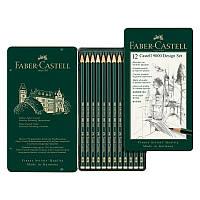 Набор карандашей графитных Faber-Castell Castell 9000 5H-5B, 12 шт в металлической коробке 119064 (1471)