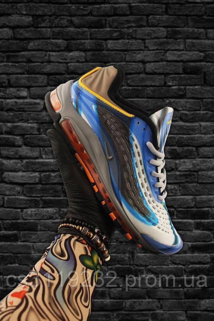 Мужские кроссовки Nike Air Max 97 Blue Gray Orange (синий/серый/оранжевый)
