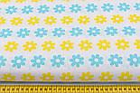 Лоскут ткани с жёлто-бирюзовыми цветами на белом (№384а), размер 80*28 см., фото 2