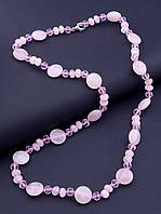 Бусы  Розовый кварц,Чешский хрусталь 55 см., фото 1