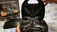 Бутербродница, вафельница, гриль 3в1 SilverCrest SSMW 750 B2, фото 5