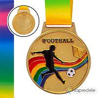 Медаль спортивная с лентой цветная d-6,5см Футбол C-0344 FOOTBALL (металл, 38g золото, серебро, бронза)