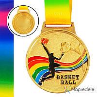 Медаль спортивная с лентой цветная d-6,5 см Баскетбол C-0340 BASKETBALL (металл, 38g золото, серебро, бронза)