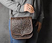 """Кожаная квадратная женская сумка, коричневая сумочка с тисненым орнаментом """"Сварога"""", сумка через плечо, фото 1"""