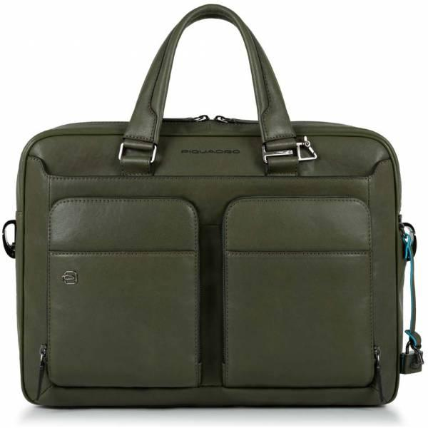 Деловая сумка Piquadro (Пиквадро) Black Square/Green CA2849B3_VE