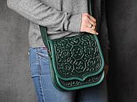 """Кожаная квадратная женская сумка, зелёная сумочка с тисненым орнаментом """"Сварога"""", сумка через плечо, фото 1"""